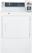 GE - 7.0 Cu. Ft. 3-Cycle Coin-Operated Electric Dryer - White-on-White