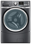 GE - 4.3 Cu. Ft. 10-Cycle High-Efficiency Steam Front-Loading Washer - Diamond Gray
