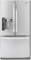 LG - 20.5 Cu. Ft. Counter-Depth French Door Refrigerator - Stainless-Steel