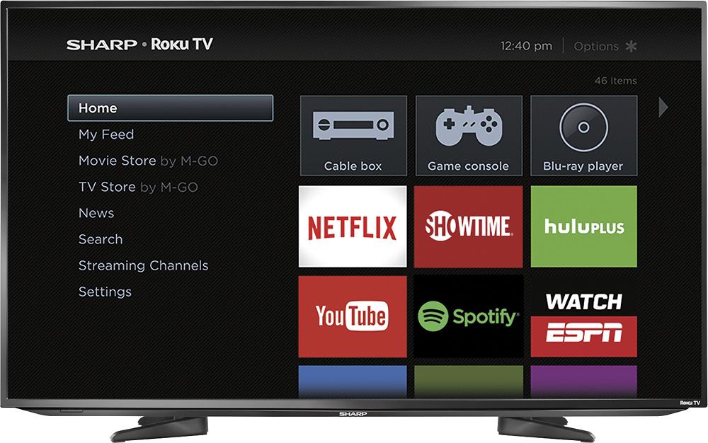 """Sharp - 43"""" Class (42.6"""" Diag.) - LED - 1080p - Smart - HDTV Roku TV - Black"""