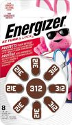 Energizer - 312 Alkaline Zinc-Air Batteries for Most Hearing Aids (8-Pack) - Silver
