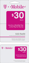 T-Mobile - $30 Wireless Airtime Refill Card - Multi