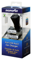 DigiPower - Dual USB Vehicle Charger - Black