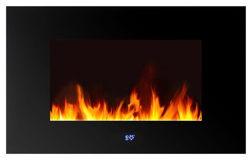 Warm House - Venice Wall-Mounted LED Electric Fireplace - Black