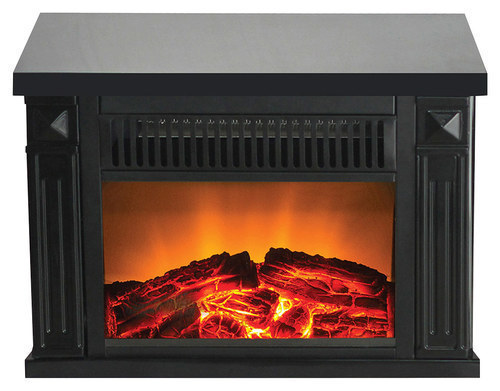 Warm House - Zurich Tabletop Retro Electric Fireplace - Black