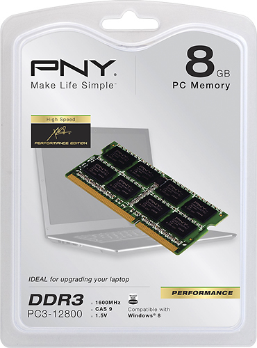 PNY - 8GB 1.6GHz PC3-12800 DDR3 Laptop Memory - Multi