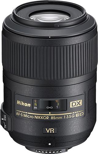 Nikon - AF-S DX Micro Nikkor 85mm f/3.5G ED VR Telephoto Lens for Nikon DX SLR Cameras - Black