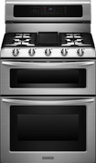 "KitchenAid - 30"" Self-Cleaning Freestanding Double Oven Gas Convection Range - Stainless-Steel"