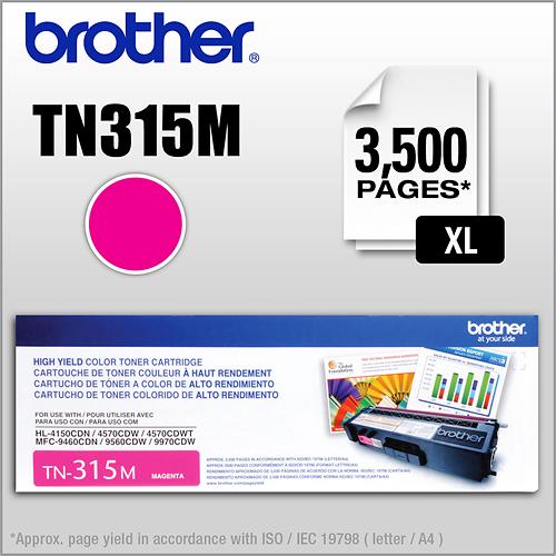 Brother - Toner Cartridge - Magenta TN315BK/C/M/Y Toner Cartridge, High Yield, 3500 Page Yield - Magenta