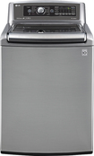 LG - 5.2 Cu. Ft. 14-Cycle Mega-Capacity High-Efficiency Steam Top-Loading Washer - Graphite Steel