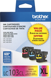 Brother - LC103CL XL 3-Pack High-Yield Ink Cartridges - Cyan/Magenta/Yellow