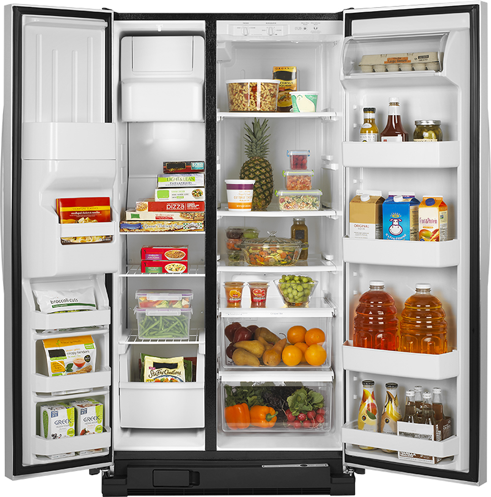Amana side by side refrigerator reviews - Amana 25 4 Cu Ft Side By Side Refrigerator With Thru The Door Ice And Water Silver Asd2575brs Best Buy