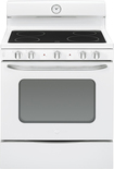 "GE - Artistry Series 30"" Freestanding Electric Range - White-on-White"