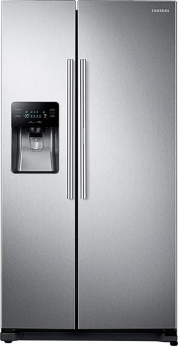 Samsung - 24.7 Cu. Ft. Side by Side Refrigerator with Food Showcase Door and Thru-the-Door Ice and Water - Stainless-Steel