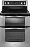 "Whirlpool - 30"" Self-Cleaning Freestanding Double Oven Electric Range - Stainless-Steel"