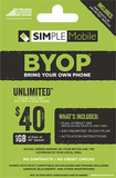 Simple Mobile - $40 Prepaid Airtime Card and SIM Card