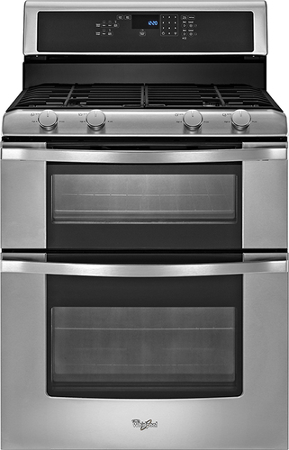 """Whirlpool 30"""" Self-Cleaning Freestanding Double Oven Gas Range Stainless Steel WGG555S0BS"""