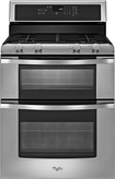 "Whirlpool - 30"" Self-Cleaning Freestanding Double Oven Gas Range - Stainless-Steel"