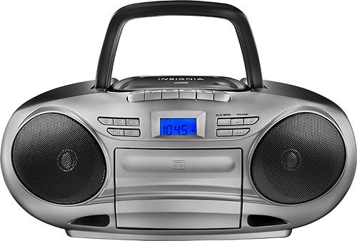 Insignia™ - CD/Cassette Boombox with AM/FM Radio - Black/Gray