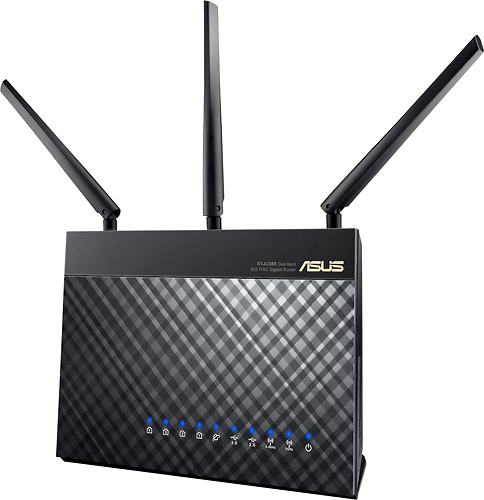 Asus - 802.11ac Dual-Band Gigabit Wireless Router - Black