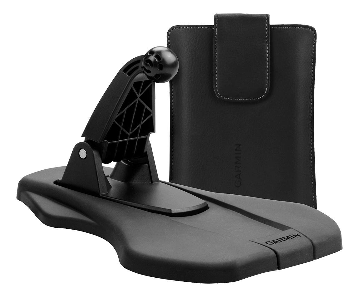 Garmin - Portable Friction Mount and Case Bundle for Most Garmin nüvi 5 GPS - Black