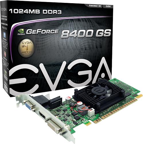 EVGA - GeForce 8400 GS 1GB GDDR3 PCI Express 2.0 Graphics Card - Silver