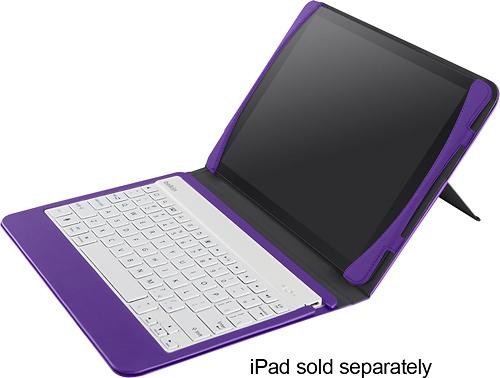 Belkin - QODE Slim-Style Keyboard Case for Apple® iPad® Air - White/Purple