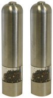 iTouchless - Electronic Salt or Pepper Mill/Grinder (2-Pack) - Brushed Stainless-Steel