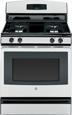 "GE - 30"" Freestanding Gas Range - Stainless-Steel/Black"