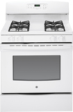 "GE - 30"" Self-Cleaning Freestanding Gas Range - White-on-White"
