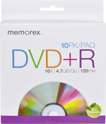 Memorex - 16x Dvd+r Discs (10-Pack) - White