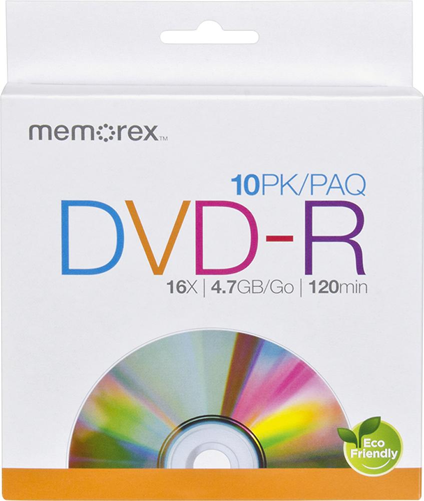 Memorex - 16x DVD-R Discs (10-Pack) - White