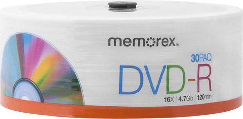 Memorex - 16x DVD-R Discs (30-Pack) - White