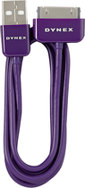 Dynex™ - 3' USB 2.0 Type-A-to-Apple® 30-Pin Charge-and-Sync Cable - Amethyst