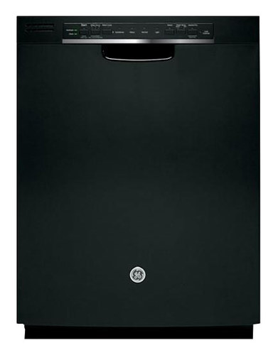 "GE - 24"" Front Control Tall Tub Built-In Dishwasher with Stainless Steel Tub - Black"