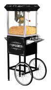 Elite - Old-Fashioned Popcorn Maker Trolley - Black/Silver