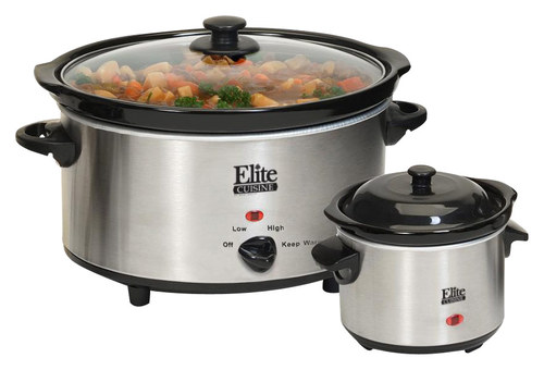 Elite Cuisine - 5-Quart Slow Cooker and 3/4-Quart Mini Dipper - Stainless-Steel/Black