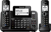 Panasonic - Link2Cell DECT 6.0 Expandable Cordless Phone with Digital Answering System and Bluetooth - Black