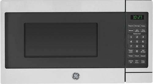 Ge 0 7 Cu Ft Compact Microwave Stainless Steel Black Larger
