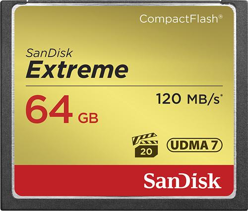 SanDisk - Extreme 64GB CompactFlash Memory Card - Black/Gold