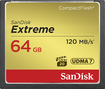 SanDisk - Extreme 64GB CF Memory Card - Black/Gold