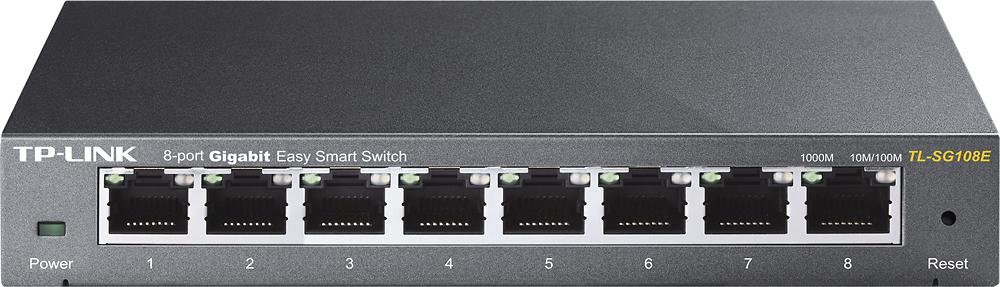 TP-LINK - 8-Port 10/100/1000 Mbps Gigabit Smart Ethernet Metal Switch - Gray