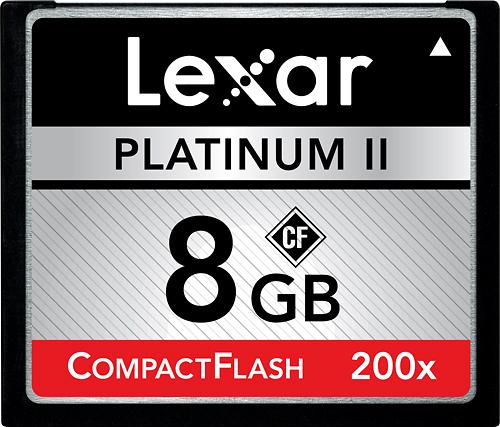 Lexar - Platinum II 8GB CF Memory Card - Black