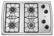 "Whirlpool - 30"" Built-In Gas Cooktop - Stainless/Stainless look"
