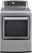 LG - EasyLoad 7.3 Cu. Ft. 14-Cycle Ultralarge-Capacity Steam Smart Gas Dryer - Graphite Steel