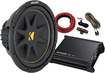 "Kicker - 12"" Single-Voice-Coil 4-Ohm Subwoofer with 250W Class AB Multichannel Amp - Black"