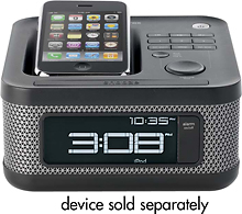 Memorex - Clock Radio Speaker System for Apple® iPod® and iPhone® - Charcoal Black (049720021698)