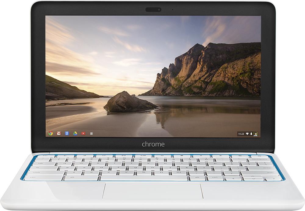 "HP - 11.6"" Chromebook Wi-Fi + 4G LTE - Exynos 5 - 2GB Memory - 16GB Flash (eMMC) Memory - Piano White/Blue"