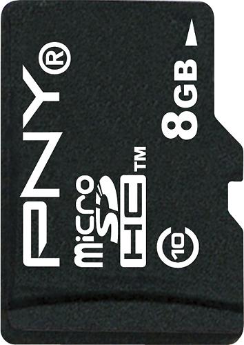PNY - 8GB microSDHC Class 10 Memory Card - Black