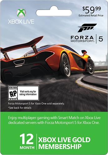 Microsoft - Xbox Live 12 Month Gold Membership - Forza 5 - Multicolor